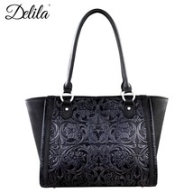 Delila collection  Montana West 100% Genuine Leather Tooled Brown Tote Handbag - $139.99