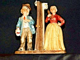 Man and Woman Figurine with God Bless Our Home AA19-1652 Vintage image 8