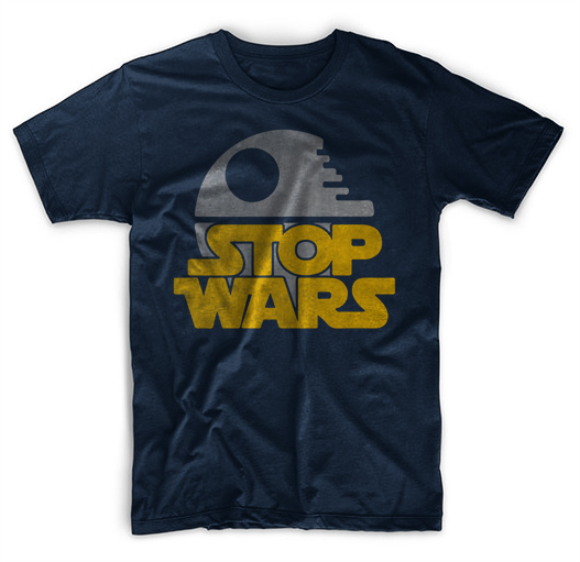 Stop Wars Anti War Parody Men Black T-Shirt Tee