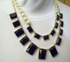 Pearls JET Black Rhinestone DRAMATIC 2 Strand Necklace Chain ASYMMETRICAL Estate image 3