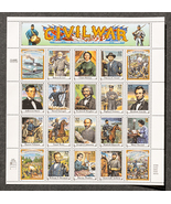 Civil War 1861 - 1865, Sheet of 32 cent stamps, 20 stamps total - $8.50