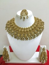 Indian Bollywood Style Gold Plated Bridal Fashion Jewelry Necklace Set - $48.50