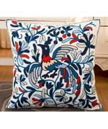 Blue Orange Tan White Bird Design Embroidered Canvas Pillow Covers 17.7 ... - $19.00
