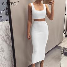 Sibybo Autumn Sleeveless Sexy Two Piece Set Dress Women Square Collar Hi... - $36.79+