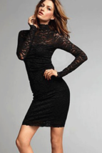 Unomatch Women Fit Bodycon Sexy Long Sleeves Lace Dress Black - $24.99