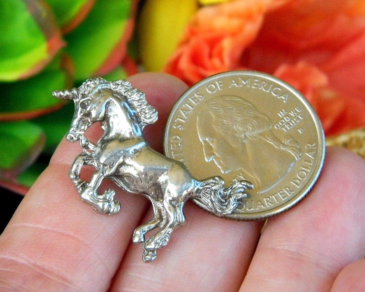 Unicorn Figural Brooch Pin Pewter Hand Crafted Nova Scotia Canada