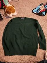 Polo Ralph Lauren Men's 100% Lambswool V-Neck Sweater Size 42 Green  - $22.44