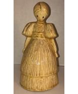 "VTG 80s CORN HUSK DOLL WOMAN 10"" Ceramic Figurine Creepy Hay Crying Eyes... - $46.95"