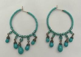 "VINTAGE AQUA TEAL BLUE GREEN SILVER TONE Chandelier BEADED Drop Earrings 2"" - $7.02"