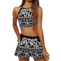 Halter Elephant Geometric Women Two Pieces Romper - $24.52