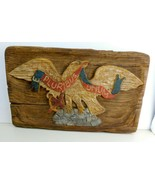 VTG E. Pluribus Unum Hand Carved Hand Painted Faux Wood Eagle ( Composit... - $122.50