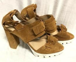 Bcbg Maxazria Shoes Suede Sandals C Ombat Heel Camel Size: 10/ 40 - $23.36