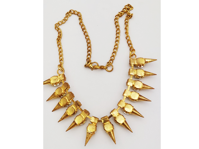 Fashion Necklace, 15 Inches with Rhinestones, Gold