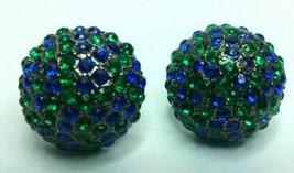 """Vintage Jewelry: 3/4"""" Blue & Green Rhinestone Pierced Earrings  02-14-2019 - $8.99"""
