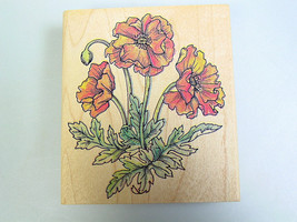 Poppy Flower rubber stamp Botanical stamp poppies card making scrapbooking - $19.61