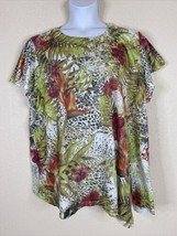 Terra & Sky Womens Plus Size 4X Floral Animal Print Knit Blouse Short Sl... - $13.86