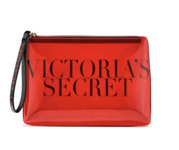 New Victoria's Secret Red Clear Makeup Cosmetic Case Beauty Bag Organizer Clutch - $16.82