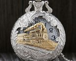 Vintage Silver Charming Gold Train Carved Openable Hollow Steampunk Quartz Pocke