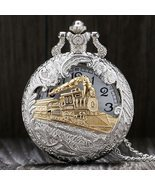 Vintage Silver Charming Gold Train Carved Openable Hollow Steampunk Quartz Pocke - $37.99