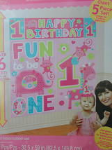 Fun to be one Happy Birthday Pink Wild Scene Setter party wall photo BAC... - $10.30