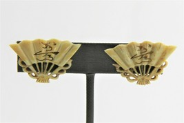 VINTAGE Jewelry CHINESE EXPORT CARVED BOVINE BONE FAN EARRINGS STERLING ... - $25.00