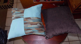 Pair of Blue Brown Abstract Print Patchwork Print Throw Pillows  17 x 17 - $49.95