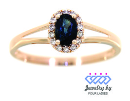 Blue Sapphire Birthstone 14K Rose Gold 0.77CT Natural Halo Diamond Fine ... - $203.15