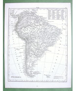 1844 MAP Original - South America Mountains Rivers - $12.15