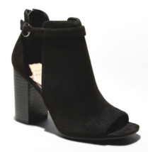 A New Day Kamari Black Microsuede Heeled Open Toe Bootie 7US