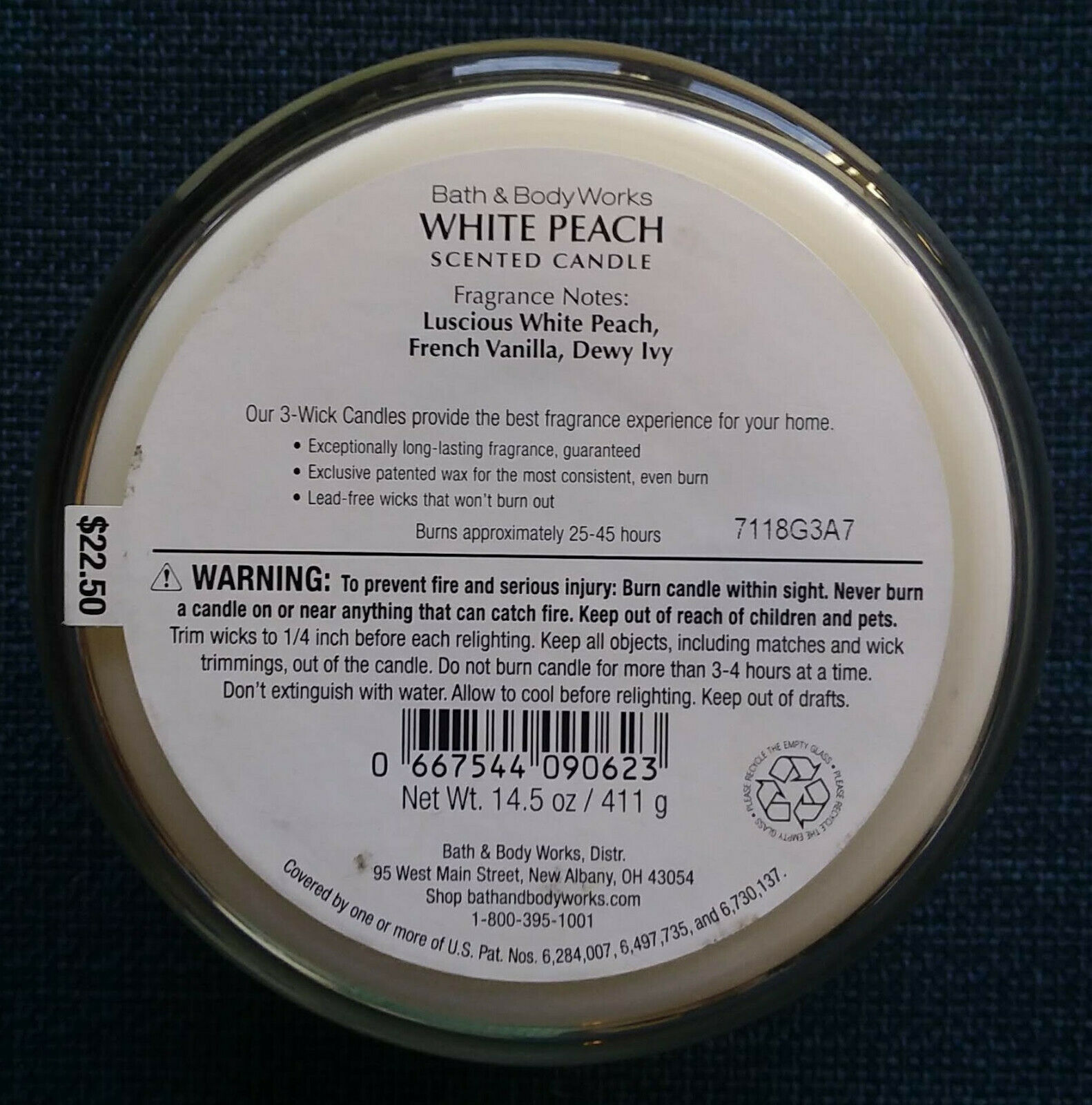 Bath and Body Works White Peach Scented Candle 3 Wick 14.5 Oz White Fruit image 4