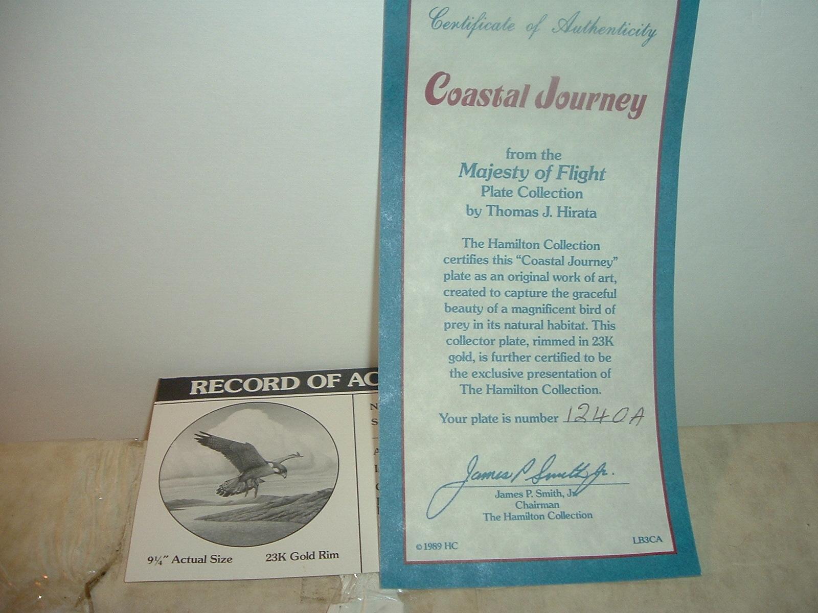 1988 Hamilton Collection Coastal Journey Falcon Plate w/ COA and Box