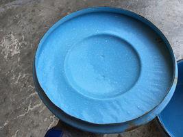 "VTG Enamelware Pail Kettle Blue Stock Pot Lid Wood Handle 10"" Estate camping image 11"