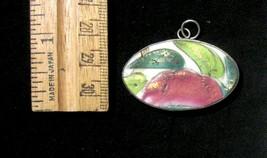 Vintage Japanese Sterling Silver Hand-Painted Porcelain Pendant-Signed o... - $2.96