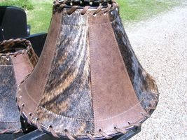 Large Western Lamp shade Leather Cowhide 0356 bz - $169.98
