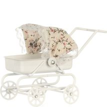 DOLLHOUSE Baby Carriage Town Square s8523 Pram White w Flowered Hood Min... - $9.40