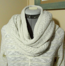 "NORDIC Scarf Ivory Argyle knit 8""x62"" Long soft Cozy Classic style Heavy... - €18,29 EUR"