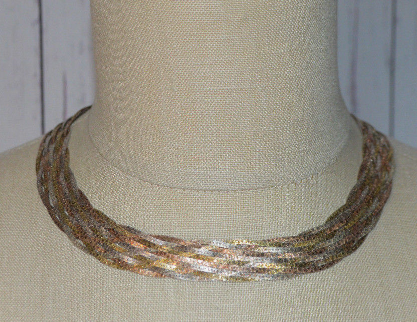 Sterling Silver .925 Italian Tri-Colored Designer Signed Braided Choker Necklace