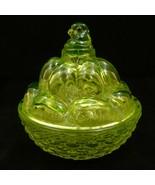 GLOWS YELLOW Glass VASELINE Westmoreland CHICK On EGG Pile HON Basket SU... - $67.77