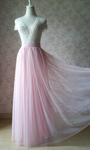 LIGHT PINK Full Length Tulle Skirt Plus Size High Waist Pink Tulle Skirt image 1