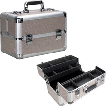 Makeup Train Case Organizer Cosmetic Beauty Travel Storage Aluminum Box ... - $79.19