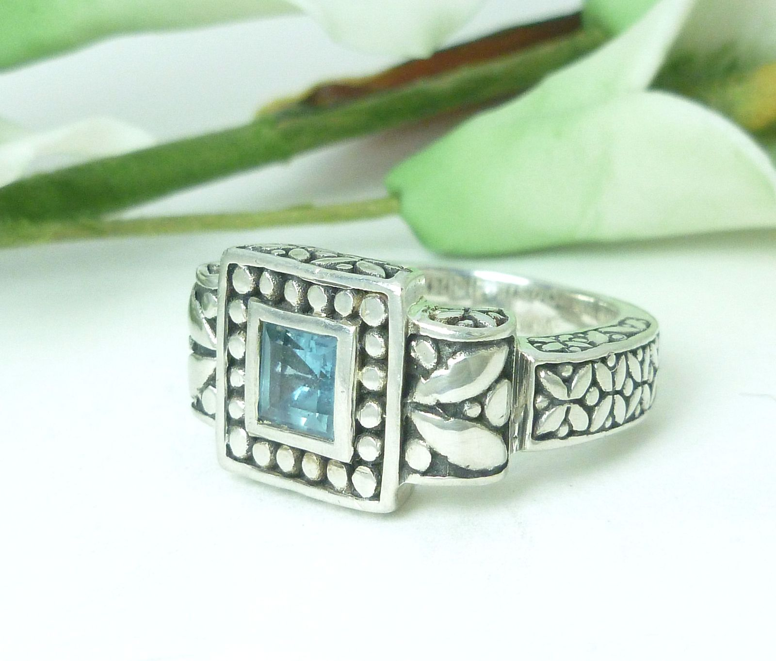 Sterling Bali Design London Blue Topaz Ring Size 6