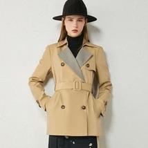 Women's European Autumn Winter Fashion Plaid Spliced Lapel Belted Trench Coat image 2