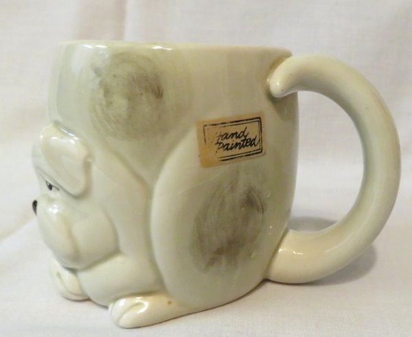 Fitz and Floyd Dog Mug 1979 Ceramic Japan Raised Design Hand Painted Vintage 3D