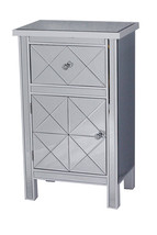 32.7' White Wood Beveled Glass Accent Cabinet with a Drawer and a Door - $289.35