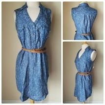 NWT 5 Twelve Women's Shirt Dress Blue Floral Print Denim Sleeveless Belt... - $11.25