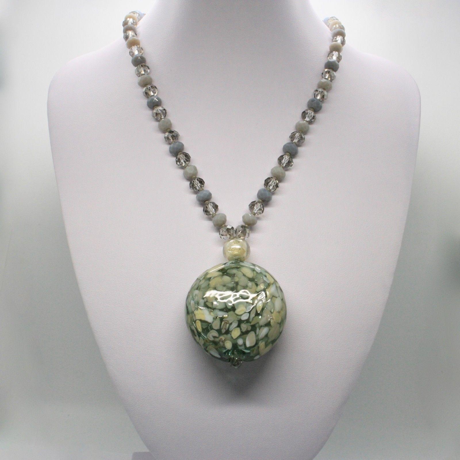 NECKLACE ANTICA MURRINA VENEZIA WITH MURANO GLASS GREEN GRAY BEIGE COA76A34