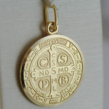 SOLID 18K YELLOW GOLD ST SAINT BENEDICT 21 MM MEDAL WITH CROSS, MADE IN ITALY image 3