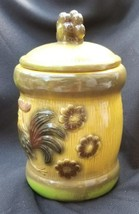 Vintage Japan Brown Ceramic Flowers And Rooster Canister Cookie Jar With... - $17.00