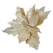 Christmas Floral Gold Glitter Poinsettia Pick - $9.59