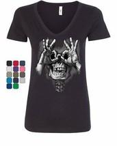 Skull Face Hand Goggles Women's V-Neck T-Shirt Funny Dead Eye Staring Sk... - $16.78+